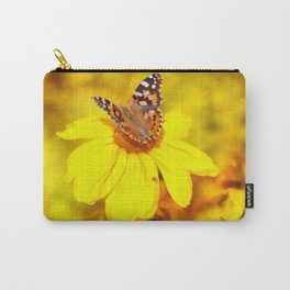Copper Butterfly In Gold Carry-All Pouch