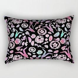 Creepy Cute Floral Occult Print Rectangular Pillow