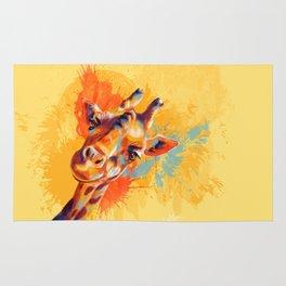 Hello - giraffe portrait, cute and funny animal illustration Rug