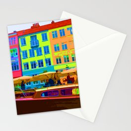 Harbour side Denmark Nyhavn Dayglo Print Stationery Cards