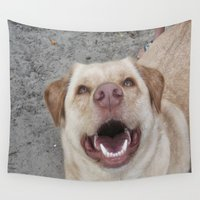 lab Wall Tapestries featuring My Happy Lab by Melissa's Art
