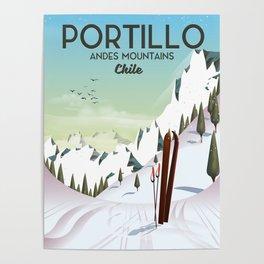 Portillo Ski Chile Ski travel poster. Poster