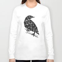 literary Long Sleeve T-shirts featuring Quoth the raven by Literary Mint