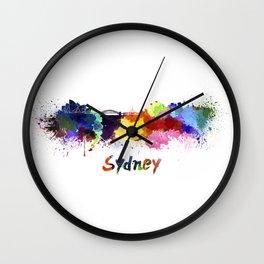 Sydney skyline in watercolor Wall Clock