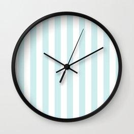 Narrow Vertical Stripes - White and Light Cyan Wall Clock