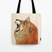 lion Tote Bags featuring Birthday Lion by Sandra Dieckmann