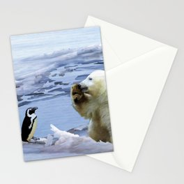 Cute Polar Bear Cub & Penguin Stationery Cards