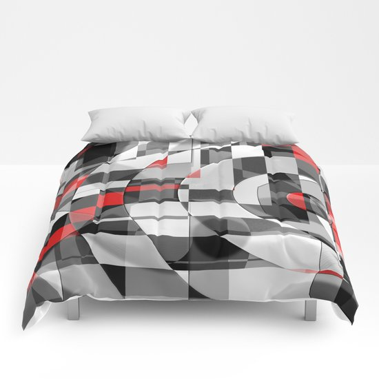 black and white meets red Version 1 Comforters