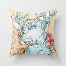 Peaceful Pitbull Throw Pillow