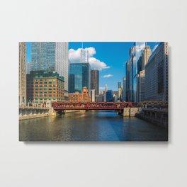 View of Chicago River Skyline Wells Street Bridge Windy City  Metal Print