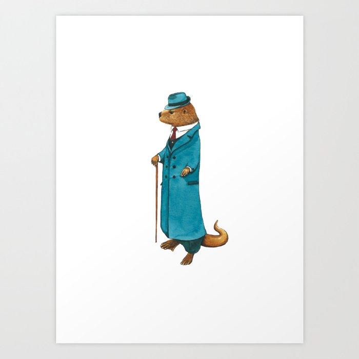Otter in suit Art Print