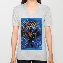 Black Angel Hope and Peace for All Street Art Graffiti Unisex V-Neck
