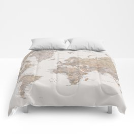 World map with cities in brown and light gray Comforters