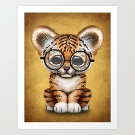 Cute Baby Tiger Cub Wearing Eye Glasses on Yellow Art Print