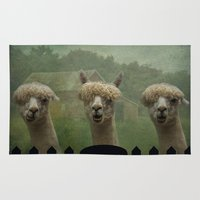 farm Area & Throw Rugs featuring Alpaca Farm by TaLins