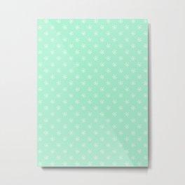 White on Magic Mint Green Snowflakes Metal Print