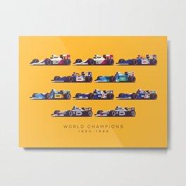 F1 World Champions 1990s - Yellow Metal Print