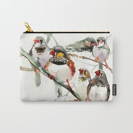 Birds, Cute birds Zebra Finch Art, Pet bird, Nursery, Children room Carry-All Pouch