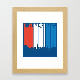 Red White And Blue Lansing Michigan Skyline Framed Art Print