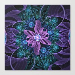 Bejeweled Butterfly Lily of Ultra-Violet Turquoise Canvas Print