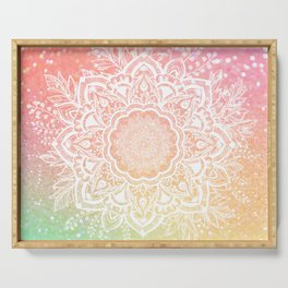 Mandala Bohemian Glitter Pink Gold Mint Sparkle Floral Wreath Illustration Serving Tray