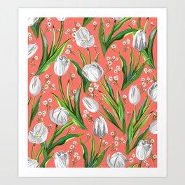 White Tulips + Babys Breath — Coral Art Print