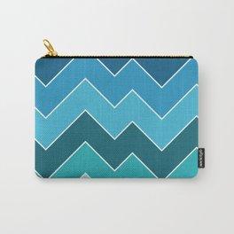 Retro Blue Seasonal Mid-Century Minimalist Geometric Line Abstract Art Carry-All Pouch