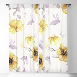 FLOWERS WATERCOLOR 27 Blackout Curtain