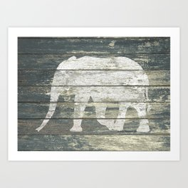 White Elephant Silhouette on Teal Wood A215C Art Print