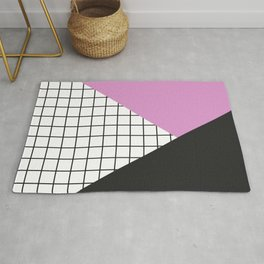 Geometry: black, pink and squres Rug