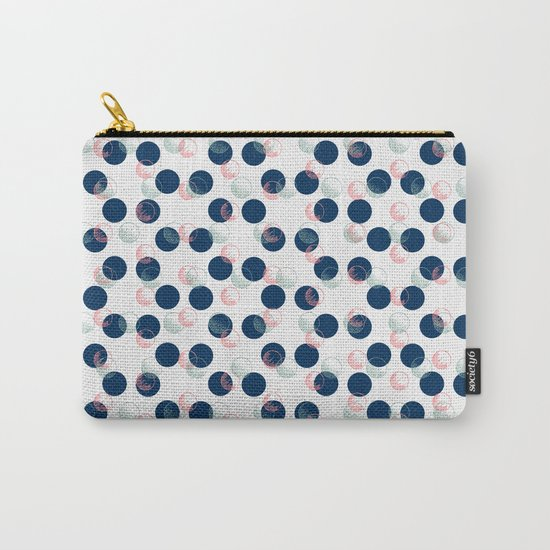 Blue Polka Dots And Scribbles Carry-All Pouch