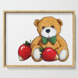 Teddy Bear With Strawberries, Illustration Serving Tray