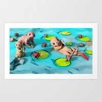 otters Art Prints featuring Otters by Teodoru Badiu