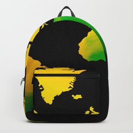 Yellow green World map Backpack
