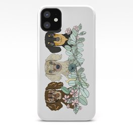 Triple Dachshunds Floral iPhone Case