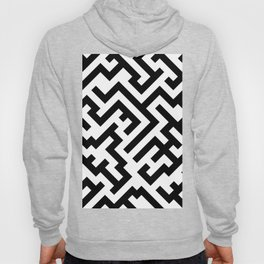 Black and White Diagonal Labyrinth Hoody