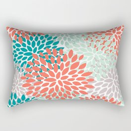 Floral Pattern, Living Coral, Teal, Mint Green, Floral Prints Rectangular Pillow