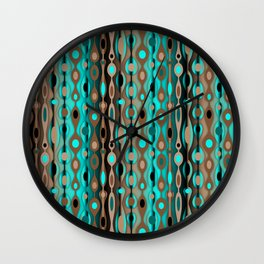 Retro Bohemian Gypsy Beaded Dangles // Vertical Gradient Chocolate Brown, Turquoise, Teal Wall Clock