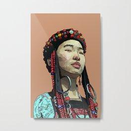 Mongolia- Buryat Girl Metal Print