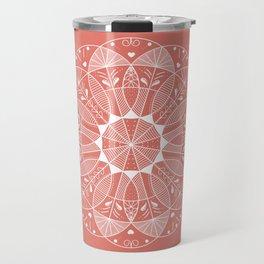Living Coral Mandala-Pantone Color of the Year 2019 Travel Mug