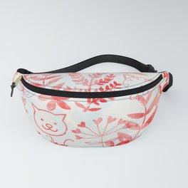 Watercolor Floral & Cat Fanny Pack