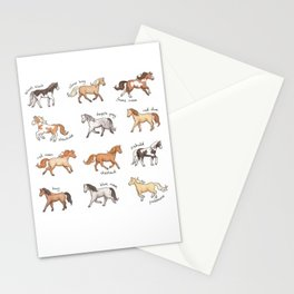 Horses - different colours and markings illustration Stationery Cards