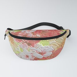Chic Vintage Coral Red Lime Green Floral Pattern Fanny Pack