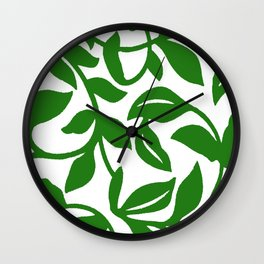 PALM LEAF VINE SWIRL IN GREEN AND WHITE Wall Clock