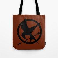 mockingjay Tote Bags featuring Mockingjay by Jessica Wray