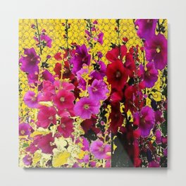DECORATIVE  PINK & RED HOLLYHOCKS YELLOW GARDEN Metal Print