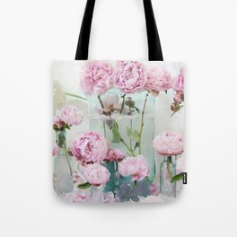 Peonies Cottage Aqua Pink Shabby Chic Watercolor Peony Prints Home Decor Tote Bag