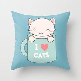 Kawaii Cute I Love Cats Throw Pillow