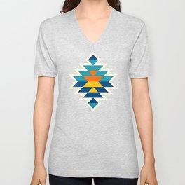 Bohemian large aztec diamonds blue pattern Unisex V-Neck