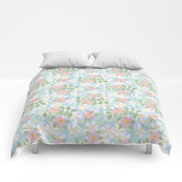 Pink Dogroses on Sky Blue Comforters